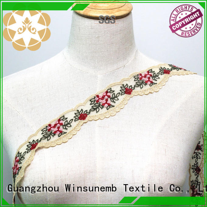 cotton Custom chemical eyelet Embroidery Lace Trimming Winsunemb white