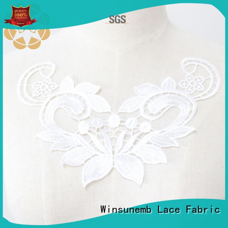 applique designs cotton Winsunemb Brand lace neckline