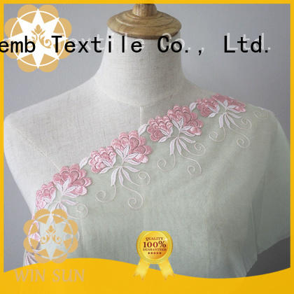 Winsunemb Brand lingerie Embroidery Lace Fabric quality factory