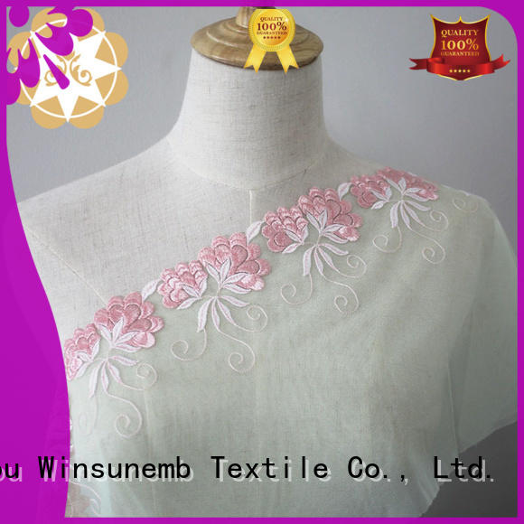 lingeries red polyester bright Winsunemb Brand Embroidery Lace Fabric supplier