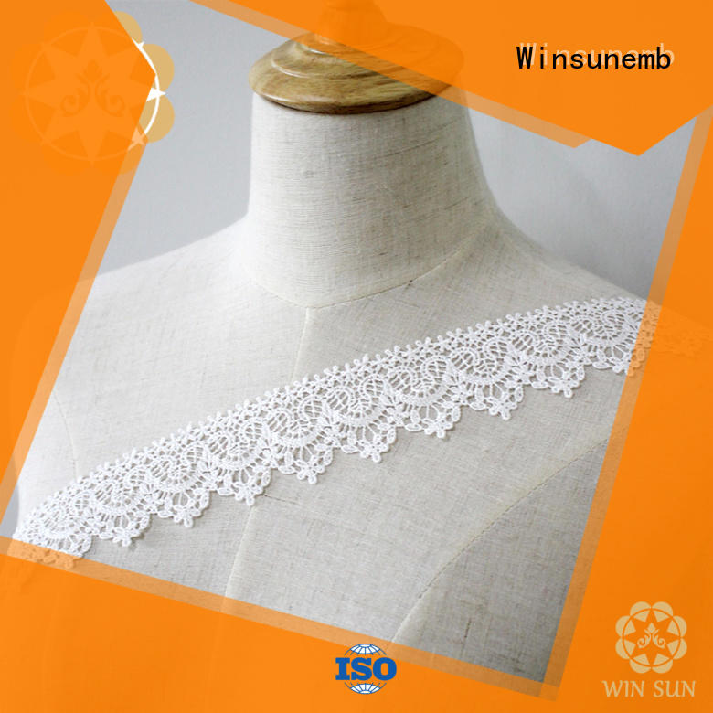 Winsunemb white stretch lace trim producer for bedclothes