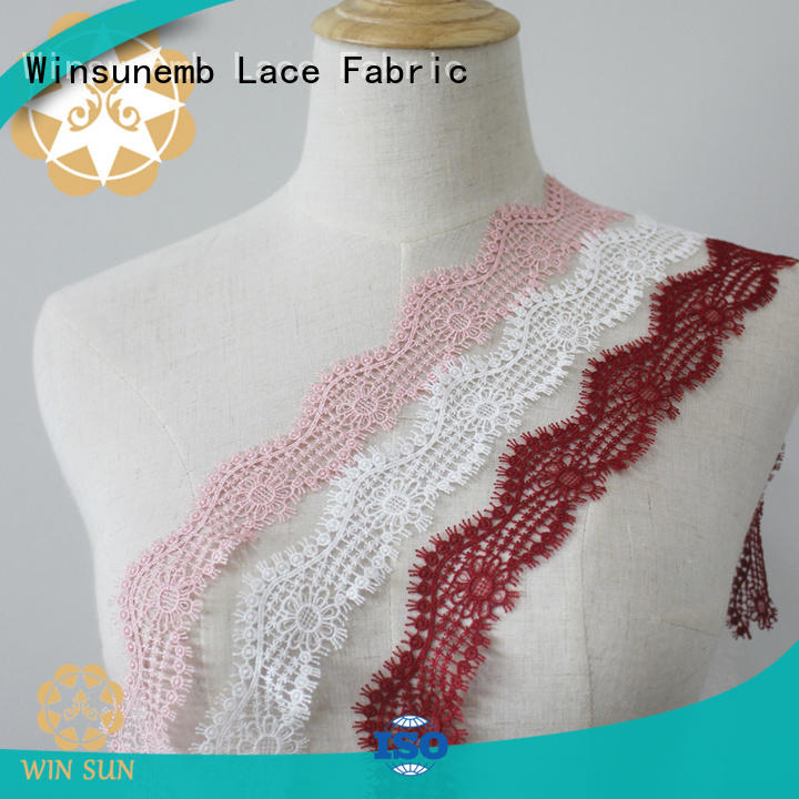 Winsunemb colour stretch lace fabric producer for bedclothes