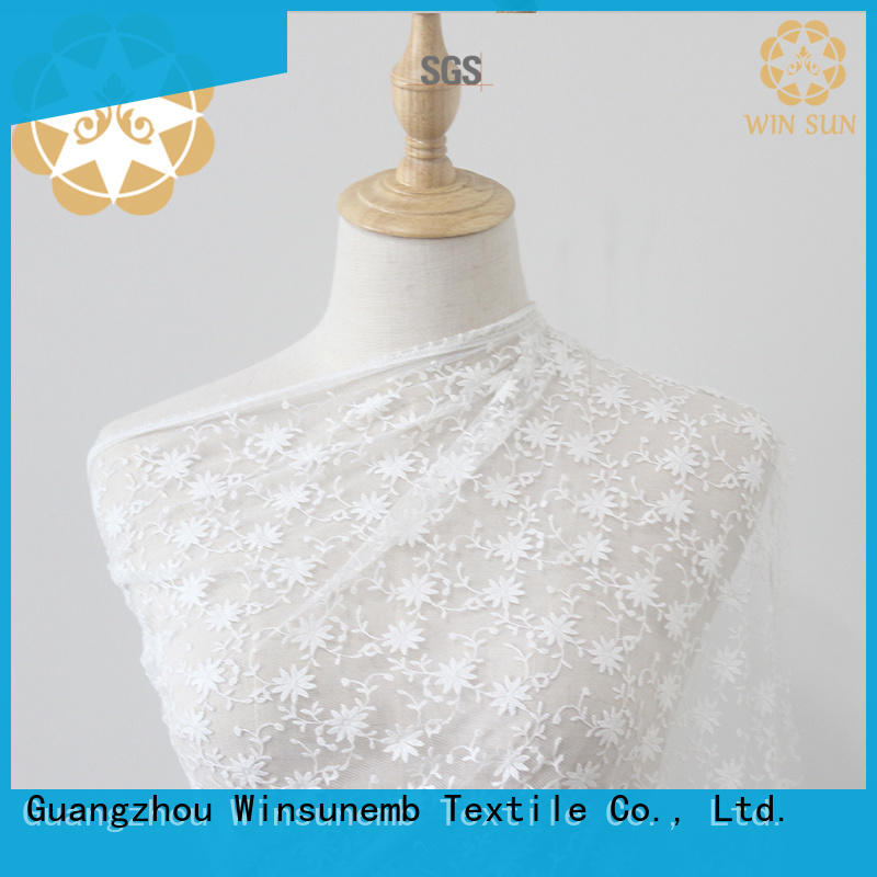 Winsunemb polyester lace fabric by the yard for underwear