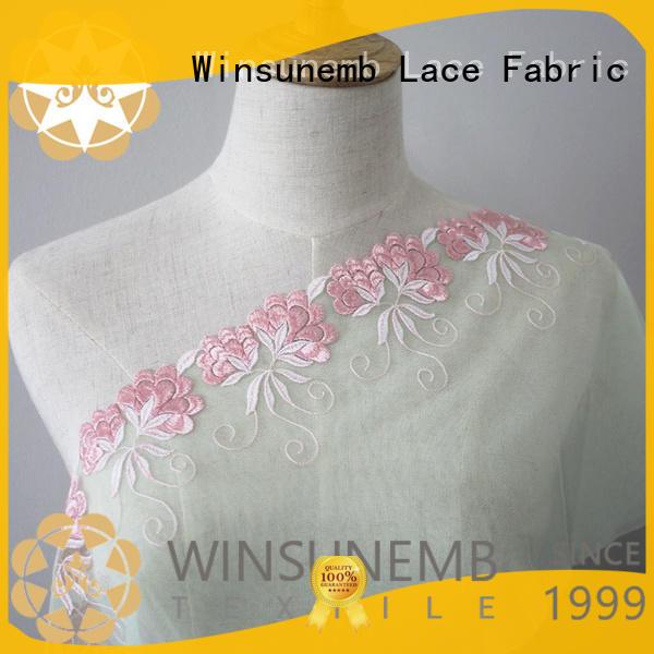 style colorful Embroidery Lace Fabric nylon Winsunemb Brand