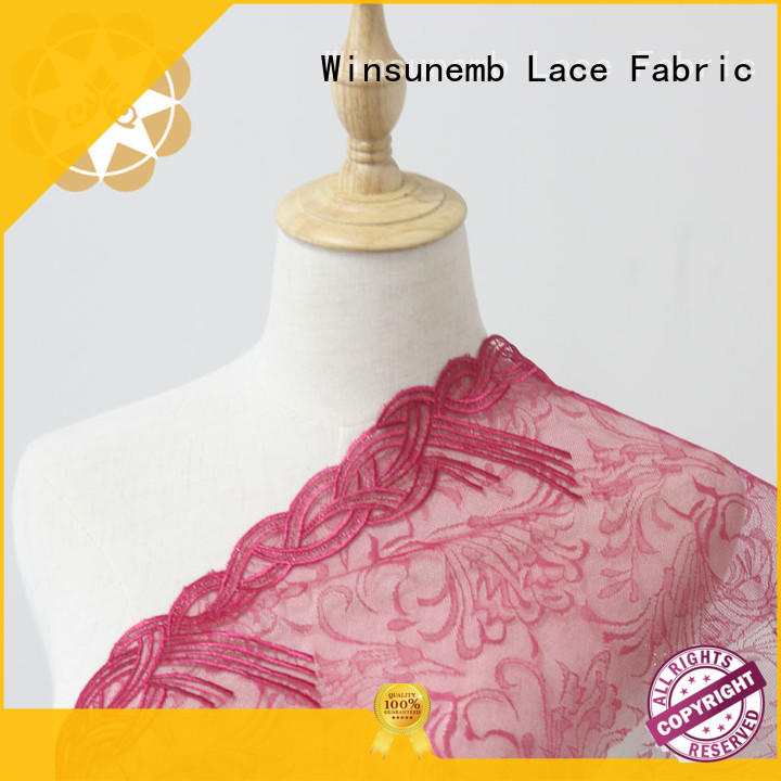 cut bright flower Embroidery Lace Fabric floral Winsunemb Brand
