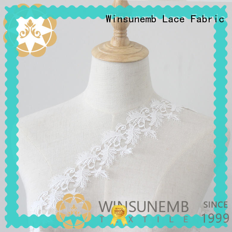 Winsunemb embroidered lace trim curtains for DIY