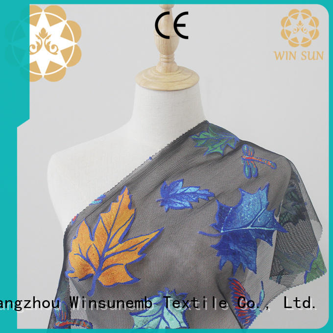 Winsunemb soft printed lace fabric for manufacturer for cloth