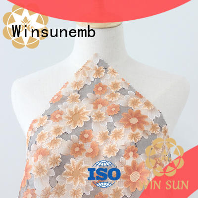 Winsunemb printedembroidery printed lace fabric producer for cloth