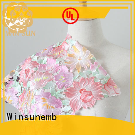 Winsunemb digital position printing printed lace fabric producer for table cloth