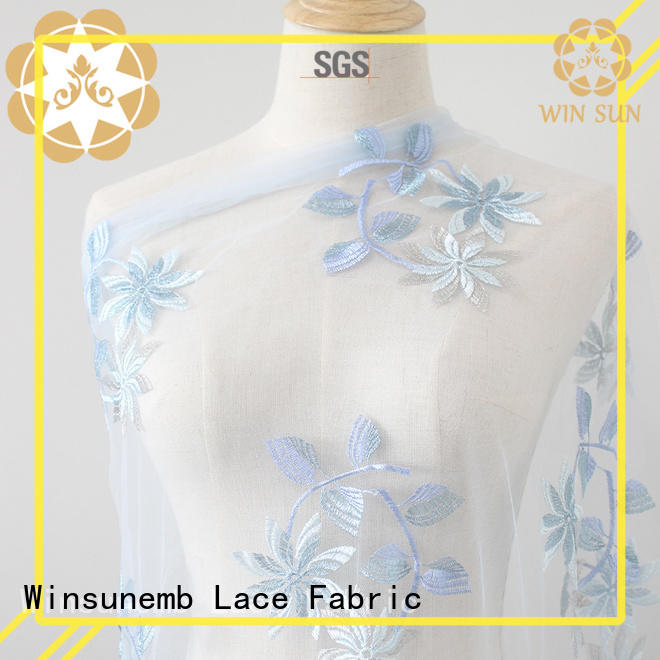 Winsunemb embriodery cotton lace fabric in china for underwear