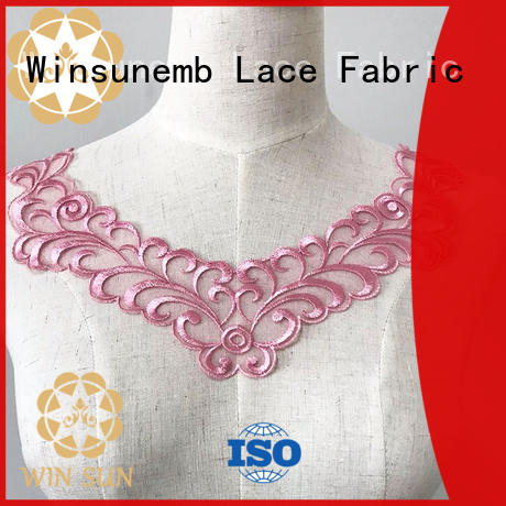 Winsunemb elegant embroidery lace motif directly sale for decorate