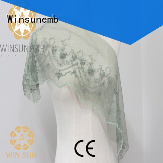 Winsunemb chemical stretch lace fabric producer for bedclothes