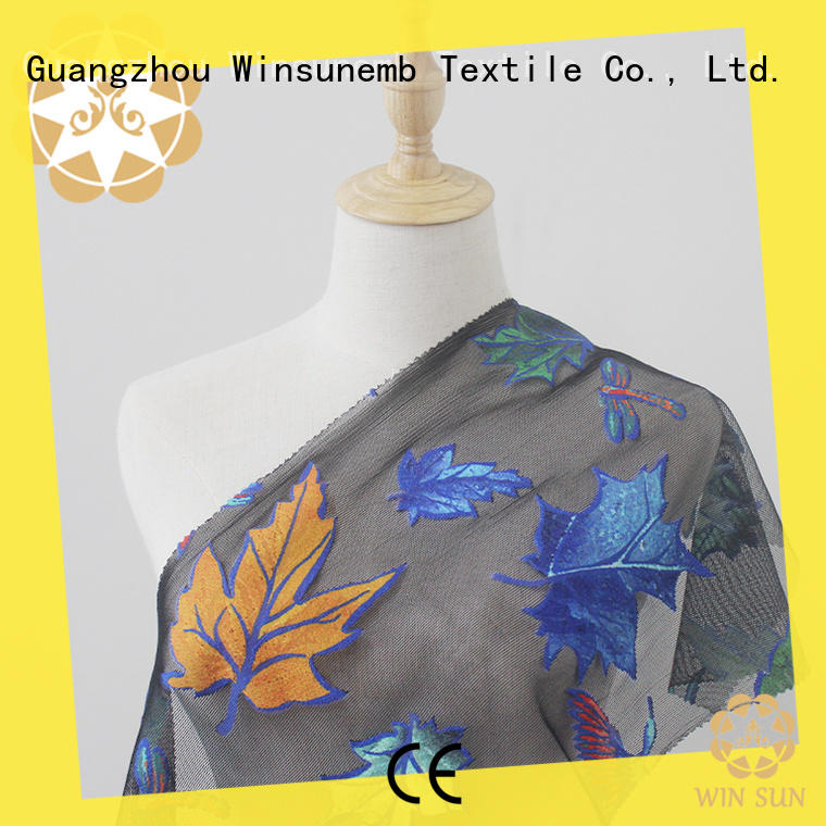 Winsunemb gowns printed lace fabric for manufacturer for auto fabric