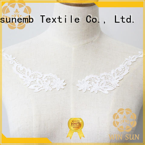 Winsunemb neckline embroidery lace motif for manufacturer for clothing collars