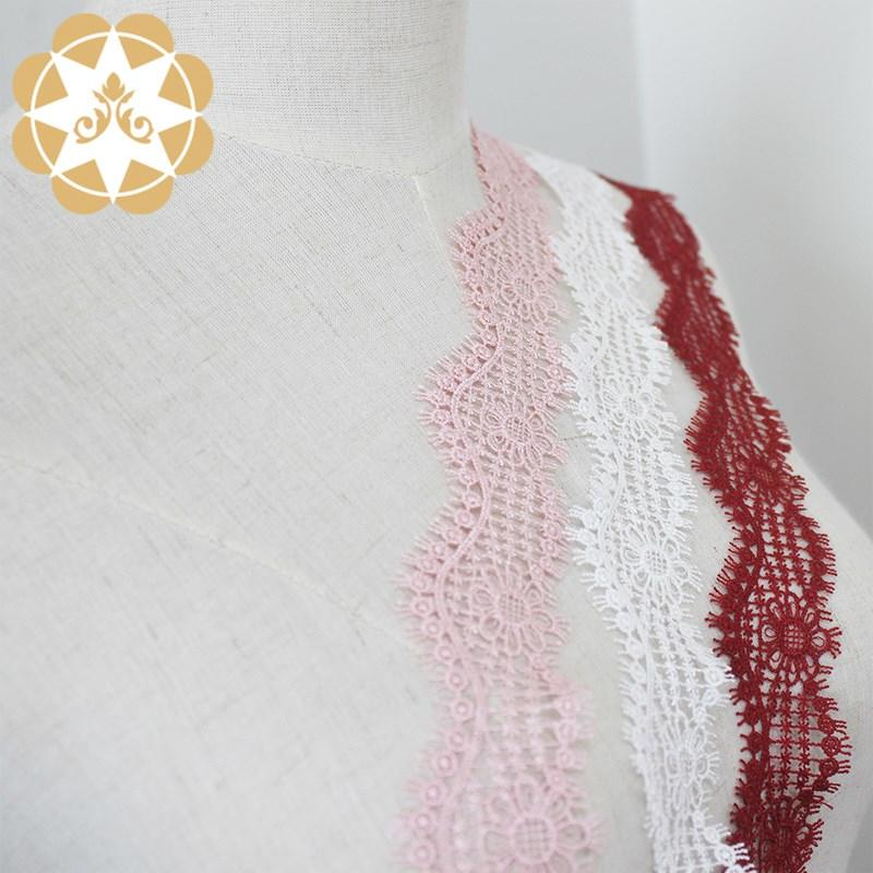 Winsunemb -Venice Lace Trim In Ivory Pink And Red, Embroidery Scalloped Trim Lace For Veils