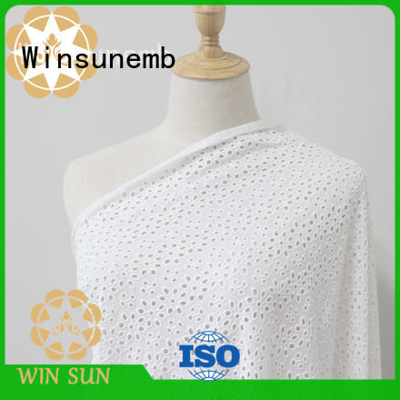 Winsunemb polyester lace fabric online producer for apparel