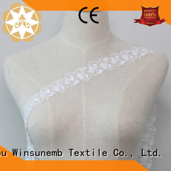 white cut dress Embroidery Lace Trimming hollow Winsunemb