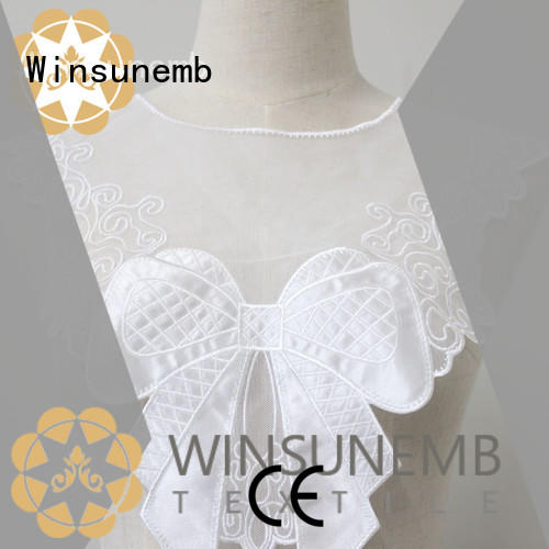 Winsunemb good looking white lace appliques embroidered for decorate