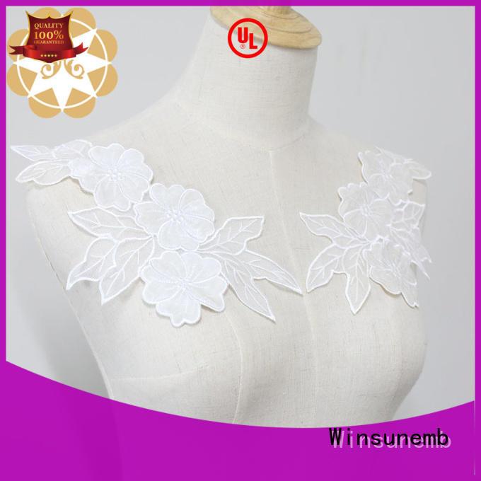 Winsunemb venise white lace appliques bulk production for chest corsage