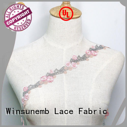 Winsunemb Brand floral chemical newest Embroidery Lace Trimming manufacture