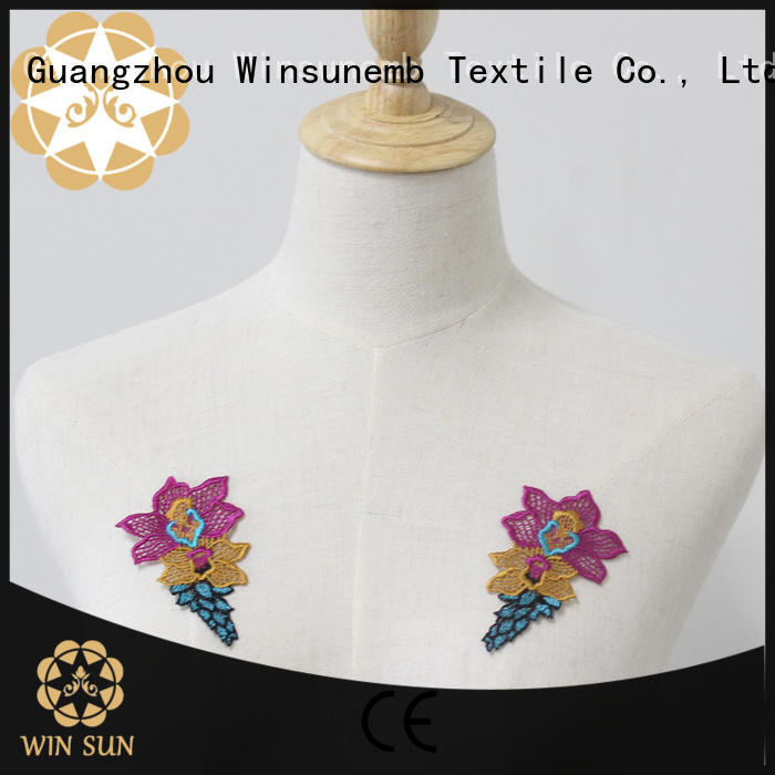 Winsunemb good looking embroidery lace motif for manufacturer for clothing collars