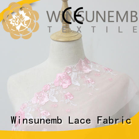 Winsunemb surrounded lace fabric for manufacturer for fashion garment