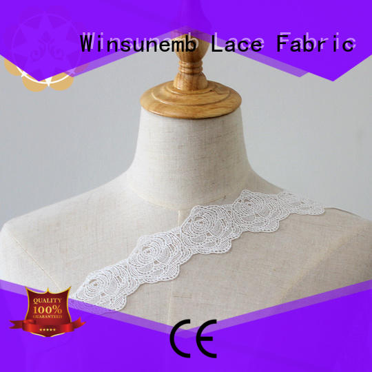 Winsunemb Round rose Embroidery Lace Trimming 100% polyester 5cm wide rose embroidery lace ivory color chemical lace wedding dress decoration French lace edge.