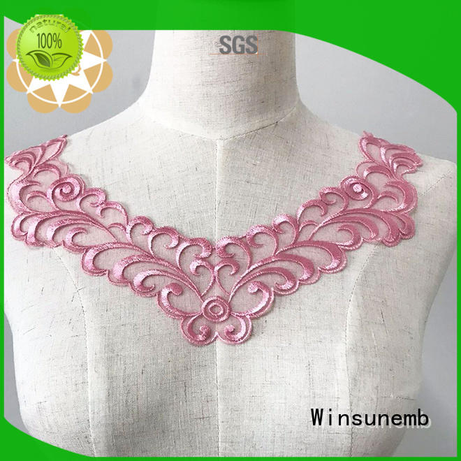 Winsunemb Brand embroidered craft patch applique designs collar
