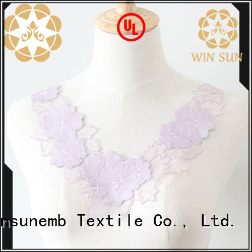Winsunemb exquisite embroidery lace motif bulk production for chest corsage