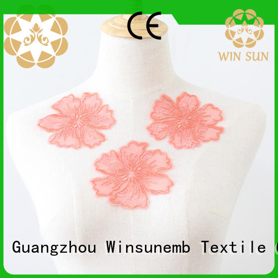 attractive embroidery lace motif trim in china for clothing collars