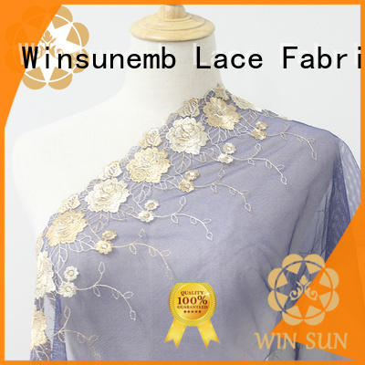 Winsunemb eco-Friendly lace fabric shop now for DIY