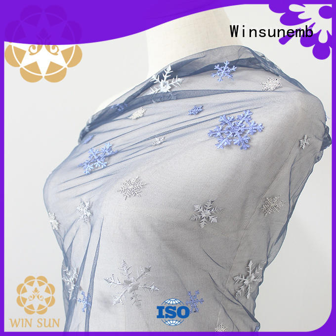 Winsunemb french beaded lace fabric producer for underwear