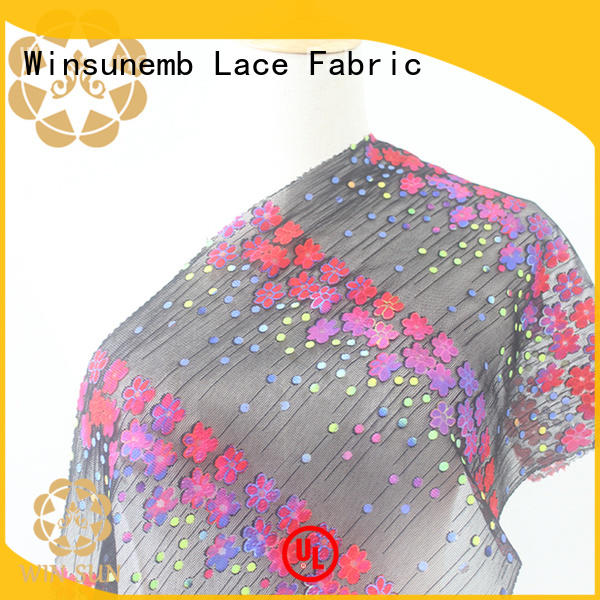 Winsunemb elegant printed lace fabric directly sale for curtain cloth