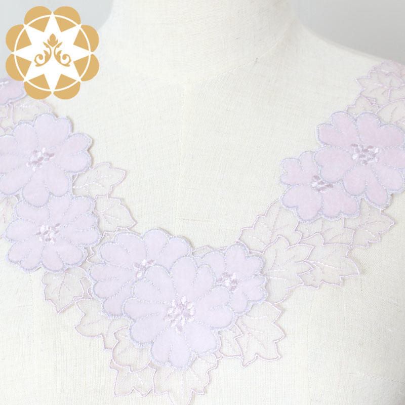 Embroidery Floral Dress Applique Motif Blouse Sewing DIY Neckline-3