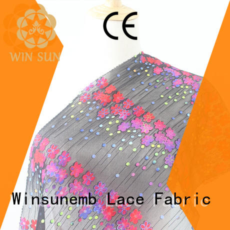 printed printed lace fabric black for cloth Winsunemb