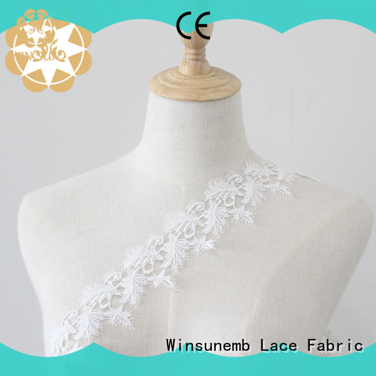 Winsunemb floral lace fabric for manufacturer for DIY