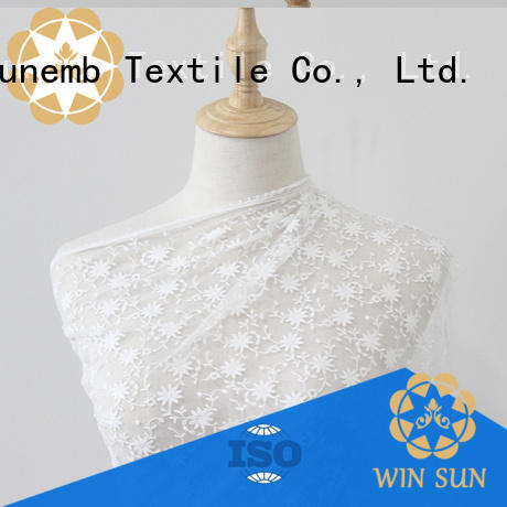 Winsunemb dark white lace fabric producer for underwear