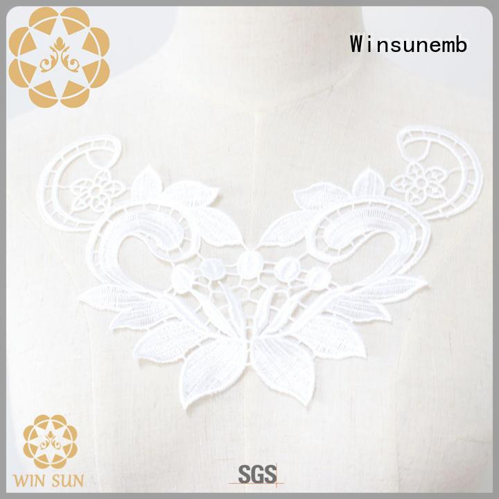 Winsunemb Brand decoration embroidered craft applique designs cotton